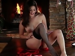 Christmas with gorgeous whore Sunny Leone, she is lying on the table and...