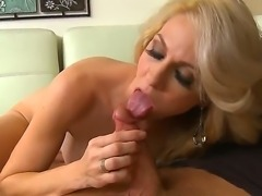 Blonde mom with great apetite for