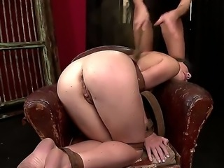 Turned on filthy blonde in black outfit Clara G. dominates over poor pale blindfolded brunette Tiffany Doll and stuffs her ass with toys before fisting it rough bondage fantasy.