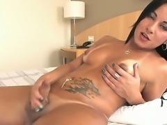Shemale with big delicious ass and boobs Thabata Piurany masturbates and...