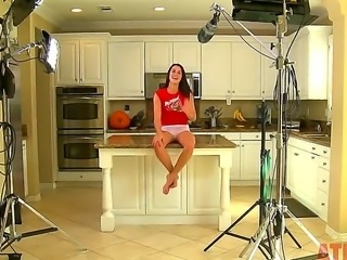 Interview in the kitchen with bespectacled brunette Alannah Monroe has her...