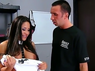 Petite whore Jenaveve Jolie with big stunning tits gives head to Keiran Lee with huge meaty bazooka