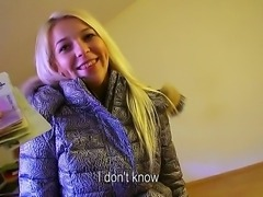Blonde teen Karol enjoys visit to her boyfriend where she kneels for some...
