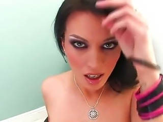 Really sexy brunette is petting and fingering her pussy and wants to use a dildo
