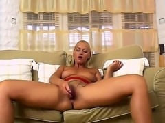 Crazy blonde Kathia Nobili takes off her clothes, spreads legs and shoves in...