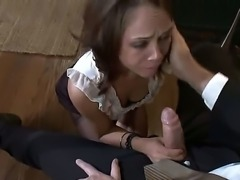 The obedient brunette babe Kristina Rose licks a shoes of the Mark Davis and...