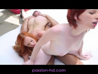 Redheaded best friends go outdoors for a sexy adventure. They end up finding a hard cock and decide to have some sexy hardcore threesome fun.
