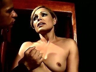 Hot milf Szilvia Lauren gets her nipples ravished by her dominating young lover during bdsm sex