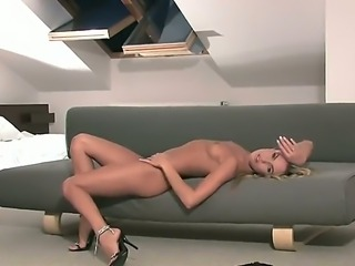 Glamour blonde girl Veronika Fasterova is going to stay in black high heeled shoes only and to pose on camera. She is demonstrating her sweetest parts to us making us horny!