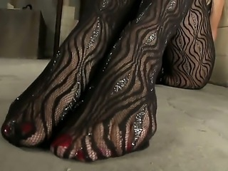 Yummy blonde babe Sophie Moone teases us in high heels and super sexy lacy stockings