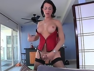 Young stupid bitch Danika Dreamz decided that she is a guy, when she was a small girl. She bought a huge natural cock and becomes she-male whore. She makes durty things using it.