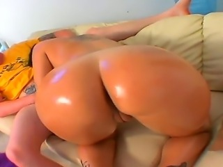 Amazing Olivia OLovely oiles her big round ass and fucks with a handsome fellow