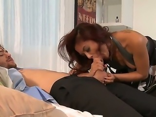 Hardcore uniform fetish with the stunning dark haired beauty Kaylani Lei. she is laying down with her legs spread wide open whilst he is taking her temperature with his tongue deep in her moist pussy. Some great cock sucking action in this scene.