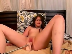 Young and naughty brunette Crissy Cumings uses her sex machine for a hot...