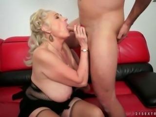 Busty fat grandma enjoys hot sex