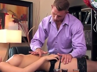 Super sexy secretary Karina White celebrates her birthday with her boss in the office