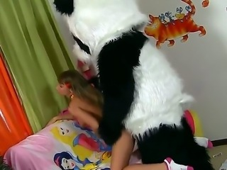 Naughty babe Tammi feels so lonely and horny that she is ready to be screwed by her panda toy