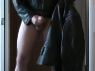 Leather biker jackets jerk off