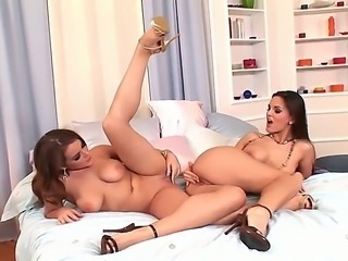 Become a lucky witness of what these lesbo goddesses Eve Angel and Natasha...