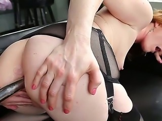Alysa gets to the pale and chubby butt of Amy Brooke and thrusts the silver spear-like dildo into her tight anal hole. The fetish has led them to such a crazy measures.