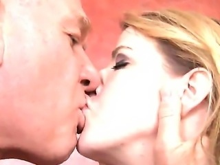 This busty blonde loves older men because they know how to treat a lady. She lets this guy put his lips on her sweet pussy and eat it while Anita Blue moans and squirms from pleasure.