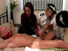FEMDOM CFNM police officers jerk dude and get his jizz all over their hands