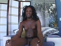 Black-skinned shemale demon Nicole B spills the hot sperm on her knees