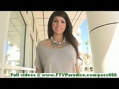 Leila sensual brunette girl flashing tits and ass in a public place