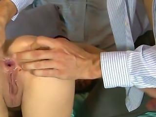 The sexy pornstar Binky Bangs masturbates her partners dick, while he licks...