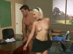 Horny blonde with super hot look Alektra Blue remains alone with her handsome...