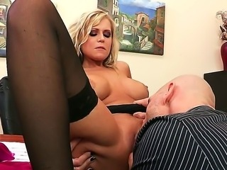 Cunning Johnny Sins is has strong erection at the sight of chubby-breasted...
