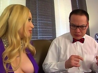 The attractive blonde pornstar Aiden Starr with a big tits gets licked by the...