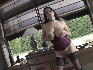 Busty dangerous brunette babe Shione Cooper frolics with strange guy. Shione takes his dick in her mouth. Her lips work wonders.
