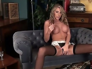 Attractive blonde Danielle and Maye with round bums and beautiful face in sexy dress and stockings slowly gets naked while teasing in solo fantasy filmed in point of view.
