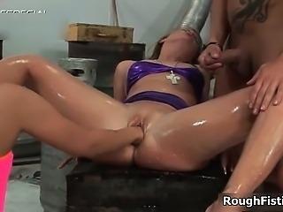 Nasty blonde slut gets her cunt ed