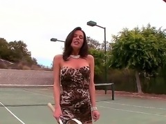 Great whore with tanned skin really loves tennis, thats why she will show us...