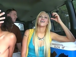 Tara Lee is all alone in the bang bus along three horny hot males ready to smash her cunt