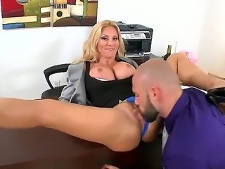 Amazingly hot business woman Charity Mclain was looking a handsome secretary! Jmac came to get a new job and he knows what he needs to present Ms. Charity to get a job!