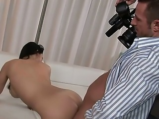 Incredible brunette porn star Aletta Ocean lets cameraman to fuck her pussy