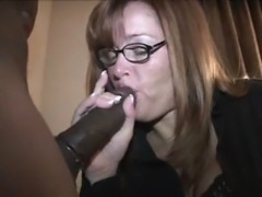 Mature wife gags on black cock free