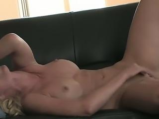 Adorable porn star Kayden Kross with big boobs masturbating her super gentle pussy
