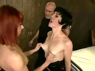 Enjoy Mark Davis, Odile and Coral Aorta in hardcore orgy for one cock and two...
