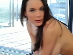 The sympathetic brunette pornstar Kyla Fox with a big nipples masturbates her...
