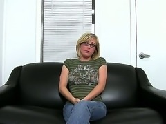 Horny blonde geek Penny Pax interviewed and tried for brand new porn show!