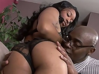 The sexy and appetizing ebony Imani Rose in a sexy lingerie seduced her Big Boss - Sean Michaels
