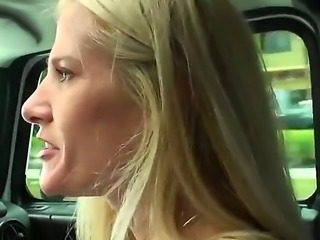 Lustful milf seeks for sex and gives a chance to the driver to tease her big boobs
