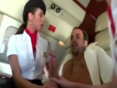 Femdom milfs sucking their passenger during his flight free