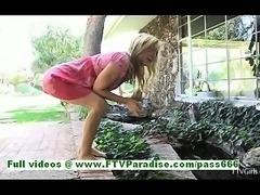 Ashley amazing blonde girl posing and flashing and fingering pussy