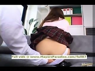 Miyu Hoshino smart Asian schoolchick being licked