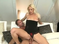 Marvelous and amazing whore Kathy Anderson sucking a big and juicy cock and having her wet and horny pussy penetrated and her ass licked by her tattooed boyfriend and his naughty dick.